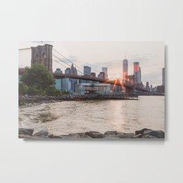 Sunset over Brooklyn Bridge Metal Print