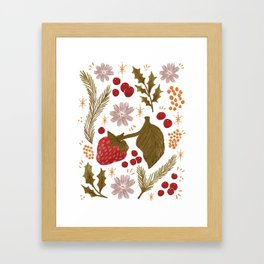 Happy Holidays Berries and Holly Framed Art Print