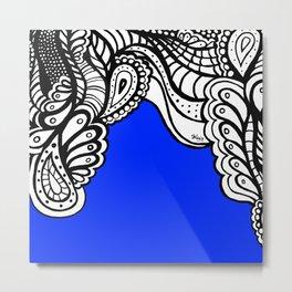 Blue Royal Doodle Artwork Metal Print