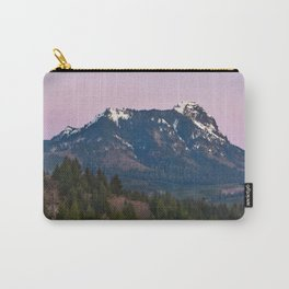 Snowy Saddle Mountain Snow Forest Pacific Northwest PNW Oregon Trees Landscape Purple Sunset Big SKy Carry-All Pouch