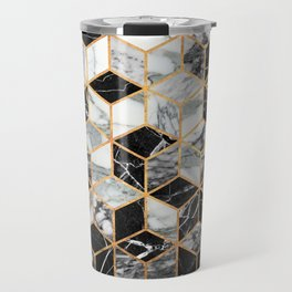 Marble Cubes - Black and White Travel Mug