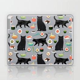 black cat sushi cat lover pet gifts cute cats Laptop & iPad Skin