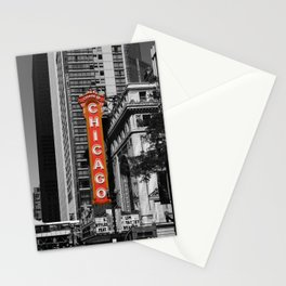 Black and White with Red Chicago Theatre sign Photography Stationery Cards