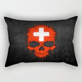 Flag of Switzerland on a Chaotic Splatter Skull Rectangular Pillow