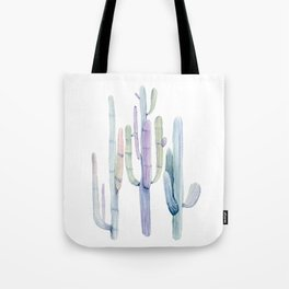 Minimalist Cactus Drawing Watercolor Painting Turquoise Cacti Tote Bag