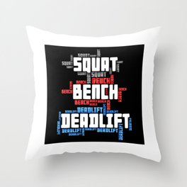 Squat Bench Deadlift Throw Pillow
