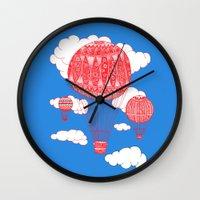hot air balloon Wall Clocks featuring Hot Air Balloon by lush tart