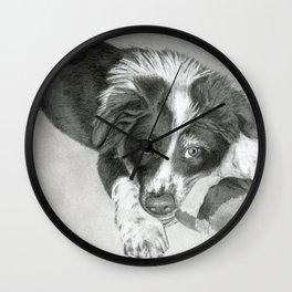 Border Collie Puppy Wall Clock
