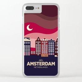 Vintage Travel: Amsterdam Clear iPhone Case