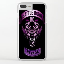 Battle Born MC- Purple Wolf Logo Clear iPhone Case