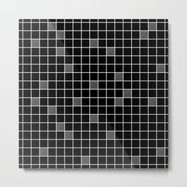 Just checkered pattern black and white 3 Metal Print