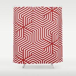 Firebrick - red - Minimal Vector Seamless Pattern Shower Curtain