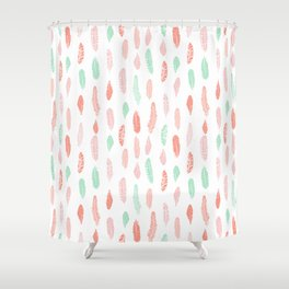 Feather mint pink and white minimal feathers pattern nursery gender neutral boho decor Shower Curtain