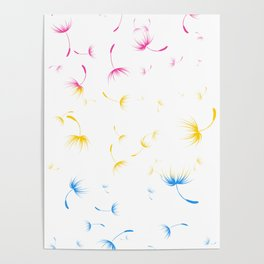 Dandelion Seeds Pansexual Pride (white background) Poster