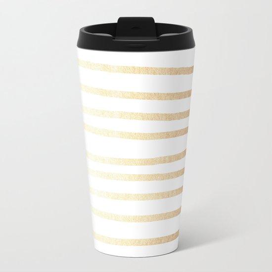 Simply Drawn Stripes Golden Copper Sun Metal Travel Mug