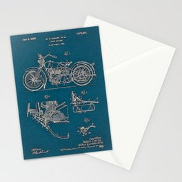 1902 Motorcycle Blueprint Patent in blue Stationery Cards