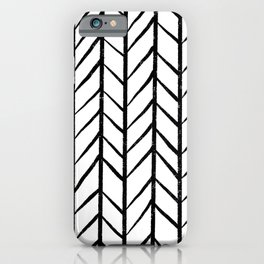 black and white modern hand drawn herringbone chevron pattern iPhone Case
