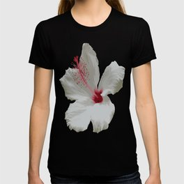 Pure White Hibiscus Tropical Flower T-shirt