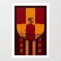 gryffindor Art Prints featuring gryffindor crest by nisimalotse