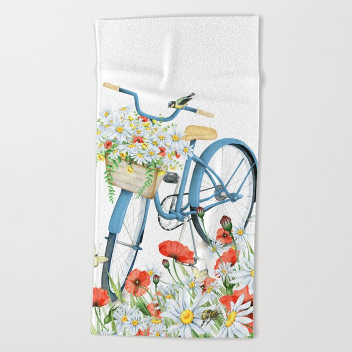 Blue bike & red poppy Beach Towel