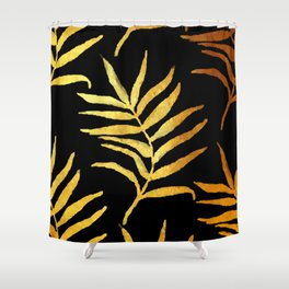 Black and gold leaf pattern V2 #society6 Shower Curtain