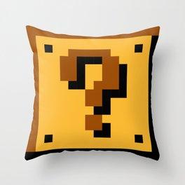 Super Mario question mark block Throw Pillow