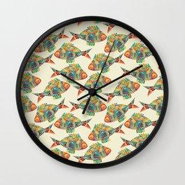 Abstract Geometric Fish Pattern Wall Clock