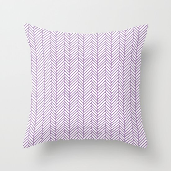 Herringbone Orchid Throw Pillow