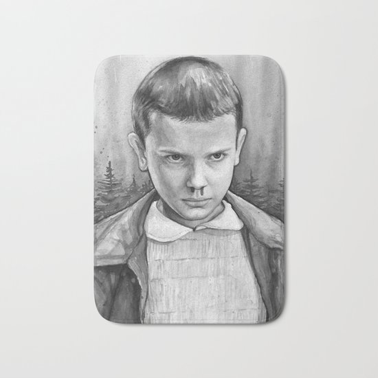 Stranger Things Eleven Watercolor Painting Black and White Bath Mat