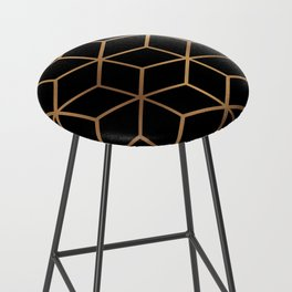 Black and Gold - Geometric Cube Design Bar Stool