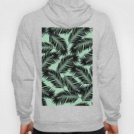 Palm Frond Tropical Décor Leaf Pattern Black on Mint Green Hoody