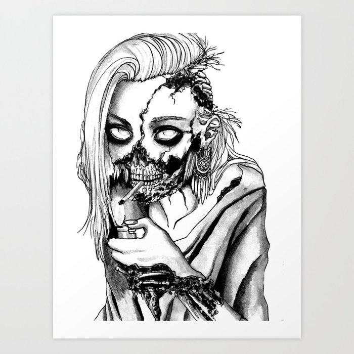 Smoking Zombie Art Print By Ashesar Society6