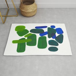 Mid Century Vintage Abstract Minimalist Colorful Pop Art Phthalo Blue Lime Green Pebble Shapes Rug