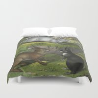 beaver Duvet Covers featuring Rabbits & Beaver by Connie Goldman