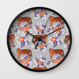 Tigers orange and purple clemson football varsity university college sports fan gifts Wall Clock