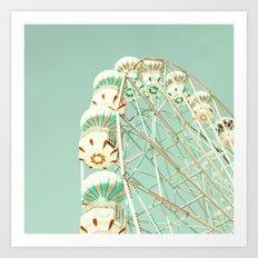 Soft Aqua Ferris Wheel  Art Print