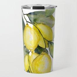 Lemon watercolor Travel Mug