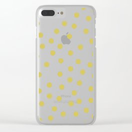 Simply Dots in Mod Yellow on White Clear iPhone Case