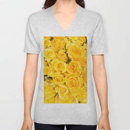 YELLOW ROSES CLUSTERED Unisex V-Neck