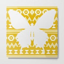 Yellow Tribal Pattern Metal Print