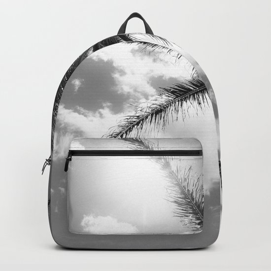 Tropical Palm Trees Black and White Backpack