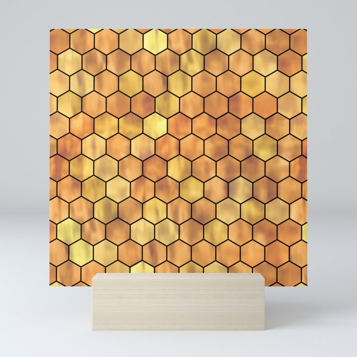 Golden Honeycomb Pattern Mini Art Print