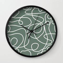 Doodle Line Art | White Lines on Dark Gray Green Wall Clock