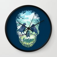 skull Wall Clocks featuring Nature's Skull by Rachel Caldwell