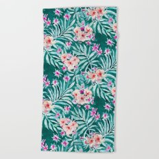 FRONDS ON FLEEK Tropical Palm Floral Beach Towel