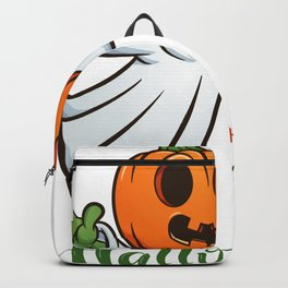 Drawn Ghosts And Pumpkins Set, Happy Halloween, Design No 03 Backpack