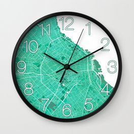 Buenos Aires City Map of Argentina - Watercolor Wall Clock