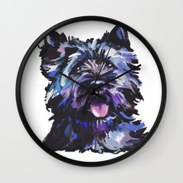 Fun Black Cairn Terrier bright colorful Pop Art Dog Portrait by LEA Wall Clock