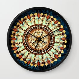 Sketched Mandala Design On A Blue Textured Background Wall Clock
