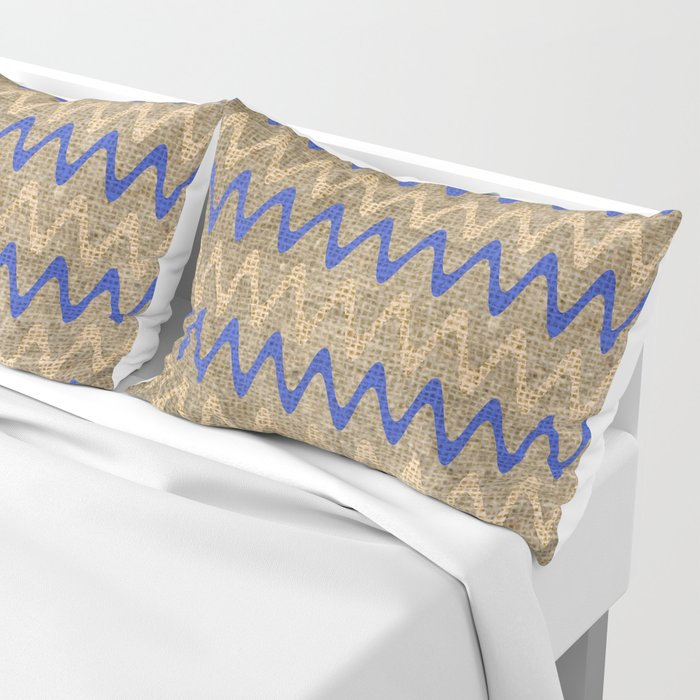 Blue and Tan Zigzag Stripes on Grungy Brown Burlap Graphic Design Pillow Sham